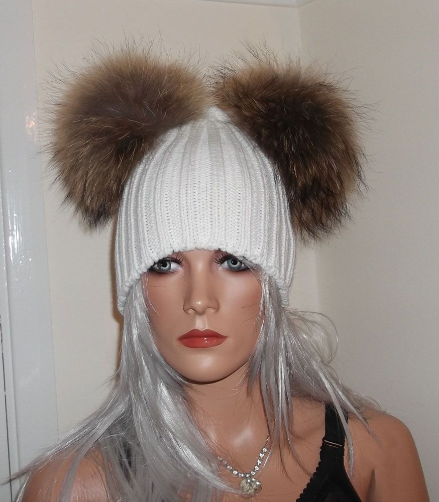 Real Raccoon Fur Pom Beanie Hats With 2 X Large 18cm Poms